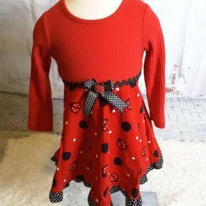 3/$30 Rare, Too! red black ladybug dress size 4T